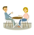 Young couple sits in cafe and drinks coffee vector image