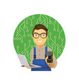 young male computer technician vector image