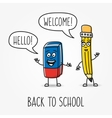 Pencil and eraser cartoon characters vector image
