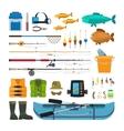 Fishing flat icons vector image