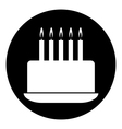 Birthday cake symbol button