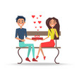 boy and girl sitting on wooden bench vector image