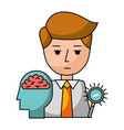 businessman with magnifying glass and brain vector image