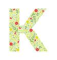 capital letter k green floral alphabet element vector image vector image