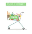 Cart with donation in supermarket isolated on vector image