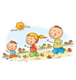 cartoon family jogging together vector image vector image
