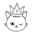cat wink eyes with crown black and white vector image vector image