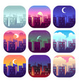 city day times early morning sunrise sunset noon vector image