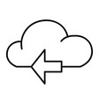 cloud with arrow thin line icon data vector image vector image