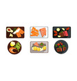 collection of served food dishes meat and salmon vector image vector image