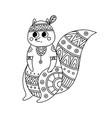 coloring antistress with image squirrel in ethnic vector image