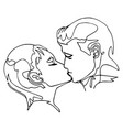 continuous line drawing - man and woman kissing vector image