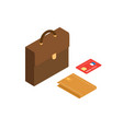 credit card wallet and briefcase isometric vector image