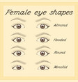 eye shapes and types various female eye shapes vector image vector image