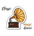 fashion patch element gramophone vector image vector image