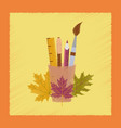flat shading style icon pencils pens ruler vector image vector image