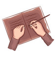 hands writing on book note diary top view vector image