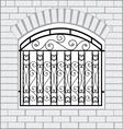 Iron fence black with white bricks vector image vector image