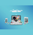 laptop smart phone and tablet transferring data vector image