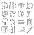 line icons dental care and dentist services vector image