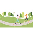 man and woman running in park jogging couple vector image vector image