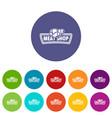 meat shop icons set color vector image