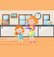 mother helping little girl drying hair vector image vector image