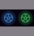 neon football ball in blue and green color vector image vector image