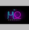 neon lights alphabet ho h o letter logo icon vector image