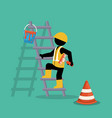 painter in stairs working vector image