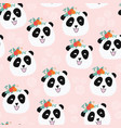 panda bear with flowers seamless pattern vector image