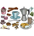 party pastry cakes and sweets icons hand drawn vector image vector image