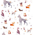 pattern of a simple patten with dogs vector image vector image
