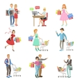 People Shopping For Clothes And Grocery vector image vector image