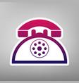 retro telephone sign purple gradient icon vector image vector image