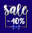 sale banner 40 off blue background vector image vector image