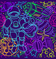 seamless pattern space doodle fantasy wallpaper vector image