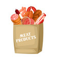 shopping bag with meat products of vector image vector image