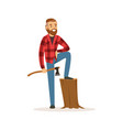smiling lumberjack holding an axe colorful vector image vector image