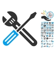 Spanner And Screwdriver Icon With 2017 Year Bonus vector image vector image
