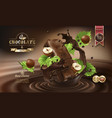 splashes of melted chocolate with chocolate bar vector image