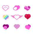 various love heart shapes graphic set vector image