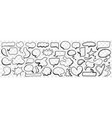 various shapes chat bubble doodle set vector image vector image