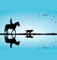 woman riding a horse and dog vector image vector image