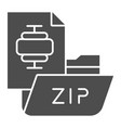 zip folder solid icon archiving folder vector image vector image