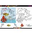 sea life cartoon coloring page set vector image