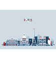 Paris France city skyline Flat trendy vector image