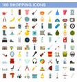 100 shopping icons set flat style vector image vector image
