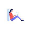 a woman is sitting on the floor and typing on vector image