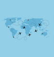 airplane dotted flight background above world map vector image vector image